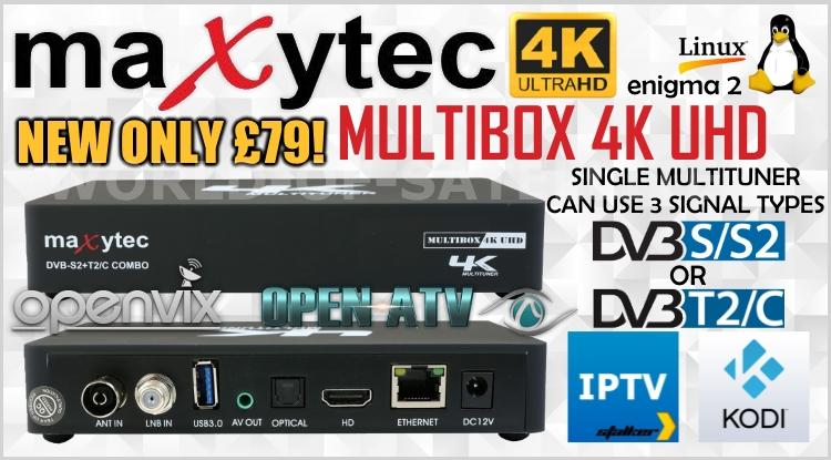 NEW Maxtec Multibox 4K UHD DVB-S/S2 + DVB-C/T2 Enigma 2 Combo
