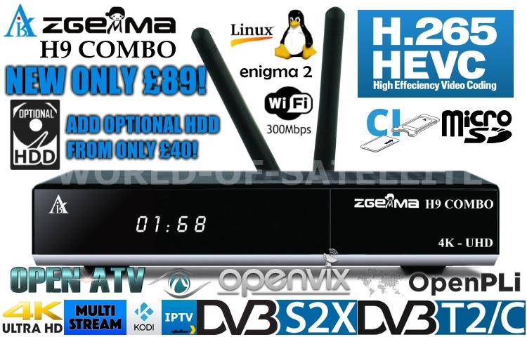 NEW Zgemma H9 Combo 4K UHD DVB-S2X + DVB-C/T2 Enigma 2 Combo